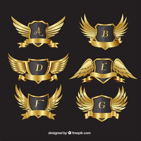 Kaos Anime Black Flag Quality Distro 1 pack of golden crests with wings vector free