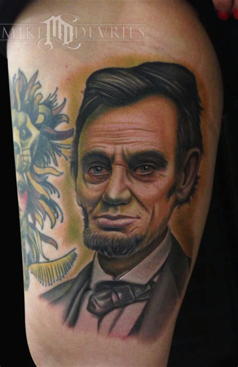 abraham lincoln tattoo ab lincoln by mike devries tattoonow