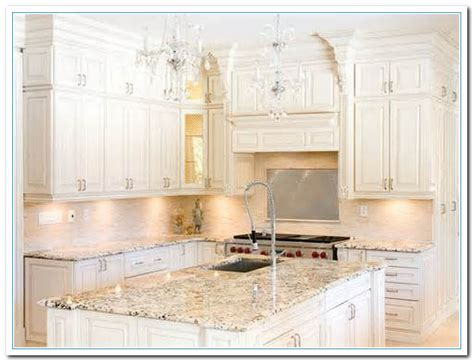 Granite For White Kitchen Cabinets White Cabinets With Granite Countertops Home And Cabinet Reviews