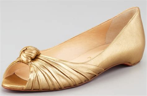 gold peep toe flat shoes gold wedding shoes peep toe ballet flats christian