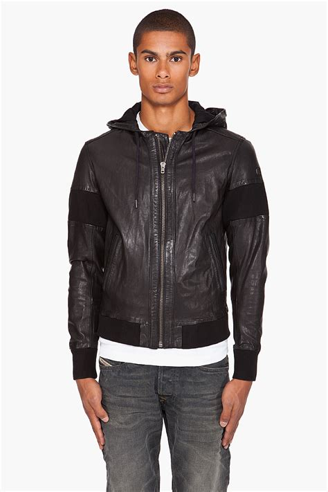 vire clothing diesel la vire leather jacket in black for lyst