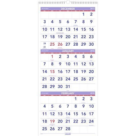 At A Glance Calendars At A Glance 3 Month Reference Wall Calendar