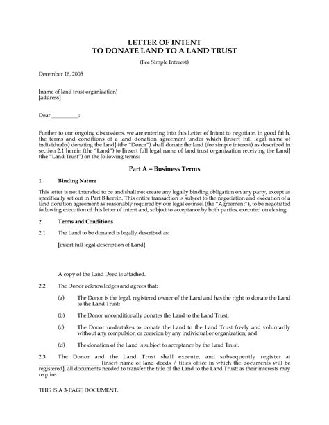 Letter Of Intent Canada letter of intent to donate land with fee simple interest