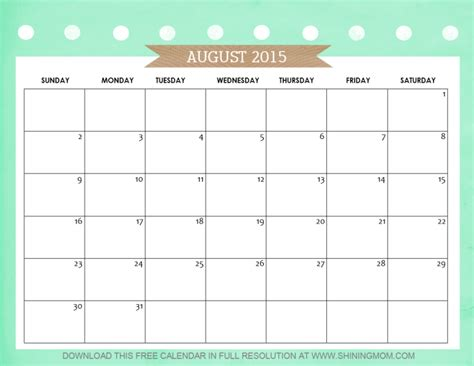 Calendar 2015 August Bank August 2016 Calendars For Word Excel Pdf