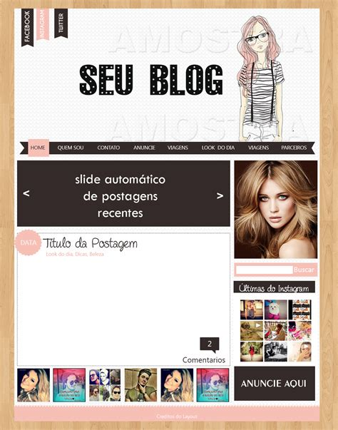 layout para blog gratuito layout para blog feminino cantinho do blog
