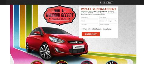 Win A Car Sweepstakes - win a new car in shesaid s hyundai accent sweepstakes the news wheel