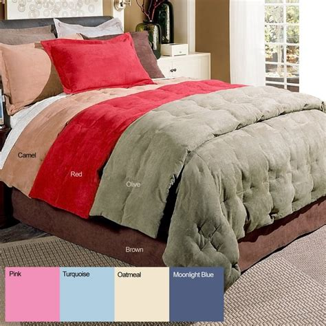 comforter and sham set microsuede 3 piece down fiber blend comforter and sham set