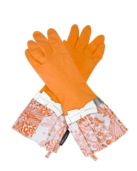 Rubber Gloves Kitchen Gloves Gloveables Grandway Rubber Cleaning Gloves Orange Retro