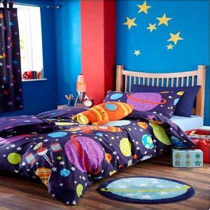 outer space curtains kids childrens boys outer space rocket single duvet curtains