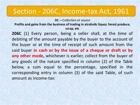 income tax act 1961 sections anaylsis of provision of section 206 on cash sale of