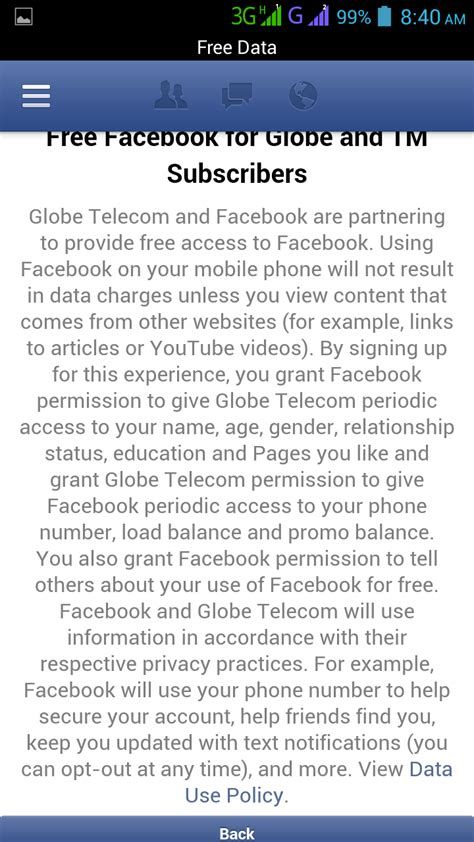 fb data gratis globe tm free data charge on facebook using fb app and