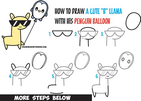 Learn how to draw cute kawaii llama with sunglasses holding penguin balloon from the letter quot b