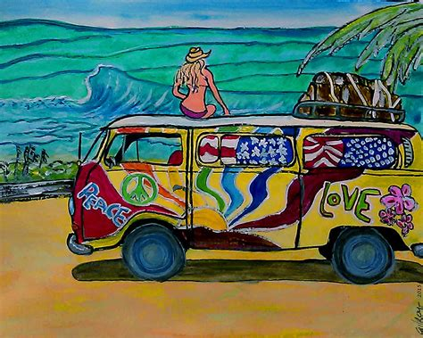 volkswagen bus art surf art vw bus painting by w gilroy
