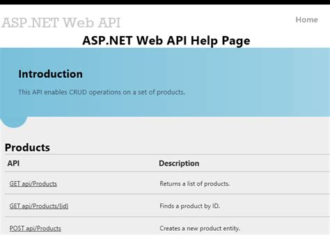 html templates for help pages creating help pages for asp net web api microsoft docs