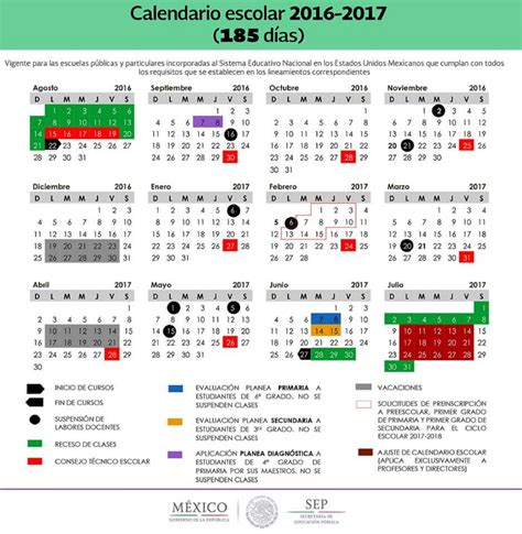 Calendario 2017 Escolar Sep Publica Los 2 Calendarios Para El Ciclo Escolar 2016 2017