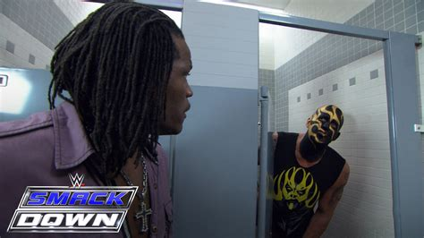 wwe bathroom r truth leans goldust some toilet paper smackdown march