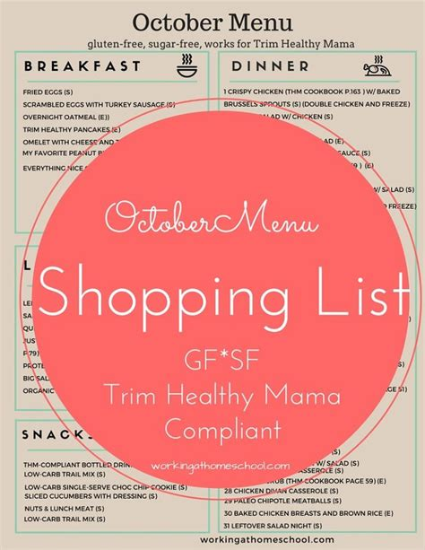 printable thm recipes free printable shopping list for 31 days of thm meals