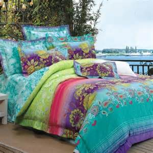 Turquoise lime green purple and red bohemian style luxury paisley park