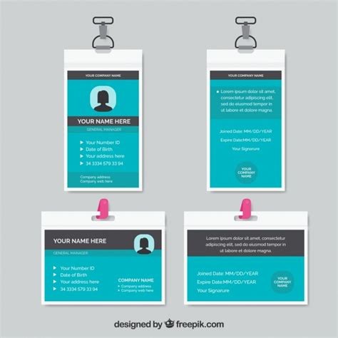 id card template free id card template vector free
