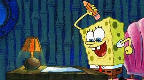 spongebob writing paper spongebob squarepants school gif find on giphy