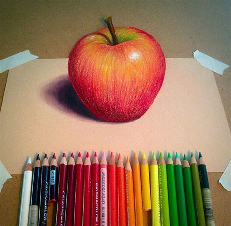 colored apple apple color pencil drawing by williehsu