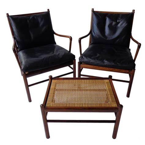 colonial armchair colonial pj149 armchairs and ottoman in rosewood by o