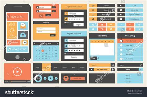 ui design background color modern ui flat design vector kit stock vector 149425121