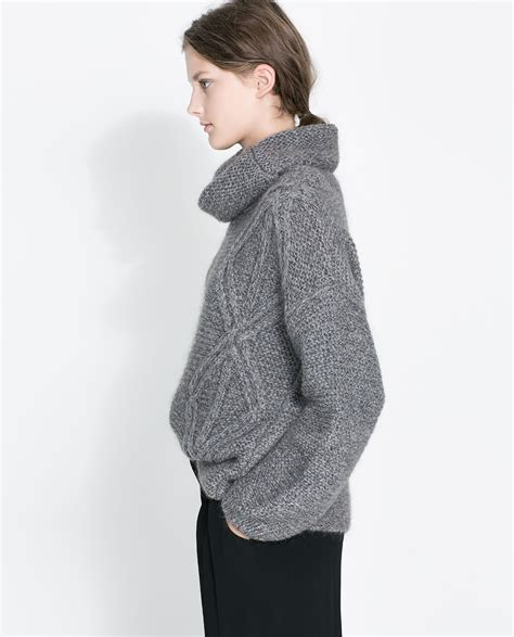 zara knit sweater zara square cut cable knit sweater in gray lyst