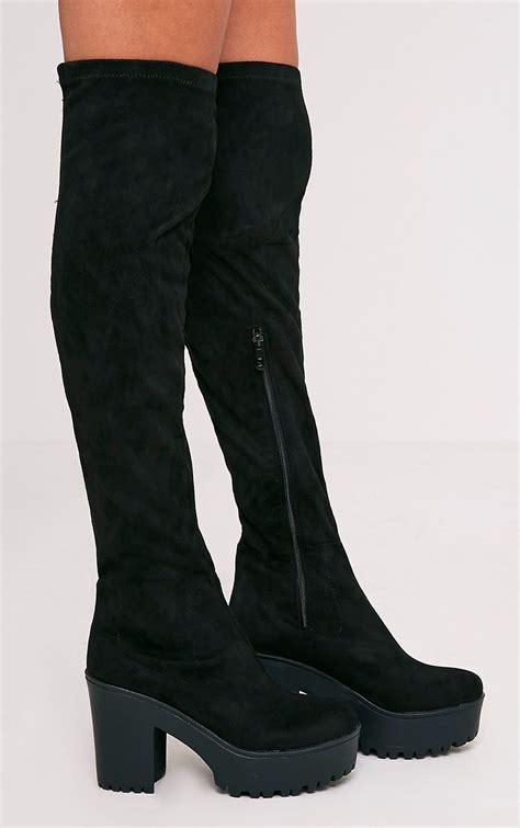 Teresa Platform Black teresa black cleated platform the knee boot
