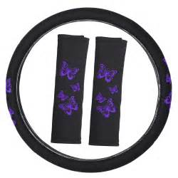 Steering Wheel Covers Girly 11pc Set Butterfly Purple Girly Black Car Seat Cover Front