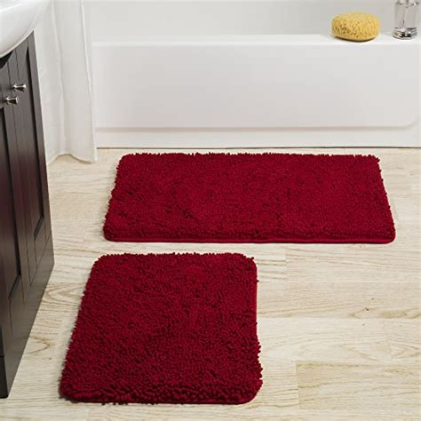 burgundy memory foam bath mat bedford home 2 memory foam shag bath mat set