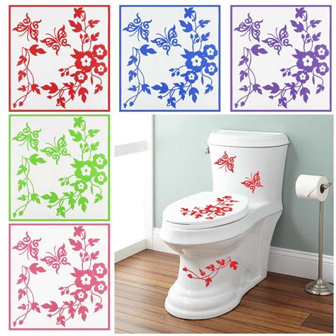 Flower Wall Decals For Bathroom Butterfly Flower Bathroom Toilet Seat Wall Decals Sticker