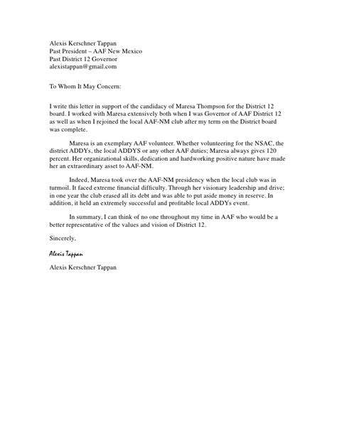 Letter Of Recommendation Volunteer kerschner tappan recommendation letter