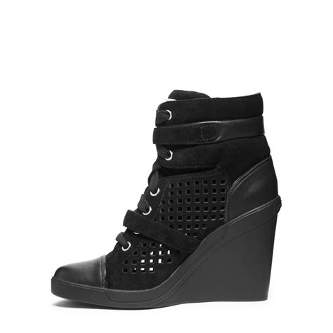 michael kors wedge sneakers black michael kors skid laser cut suede wedge sneaker in black