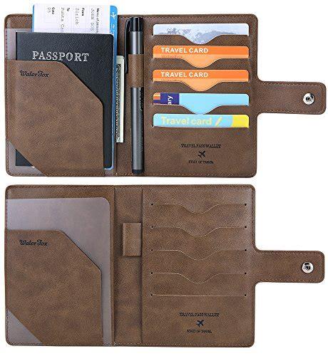 Cover Organizer Small Brown rfid blocking travel passport wallet slim cover card