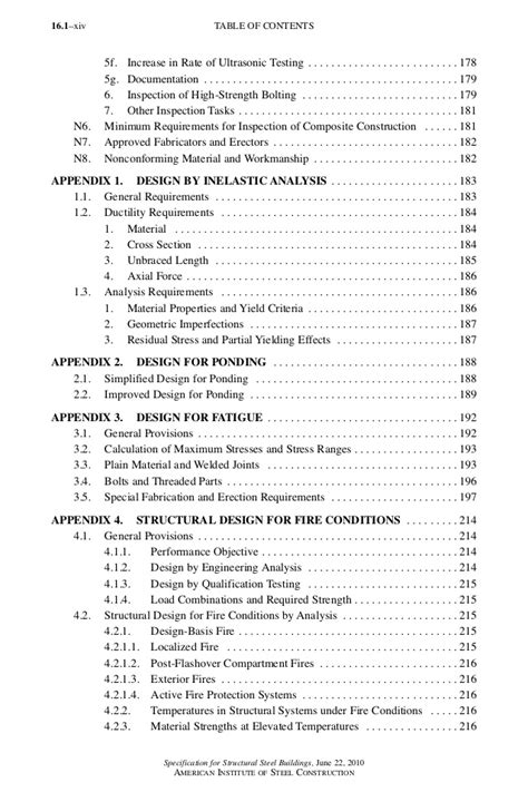 Specification for Structural Steel Buildings-Table of contents