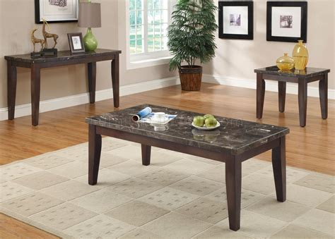 701898 3pc coffee table set by coaster w black marble top