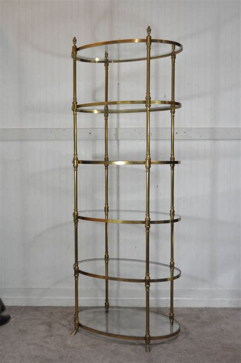 etagere oval italian regency brass hoof foot oval