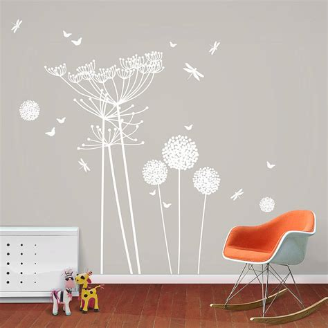 Dandelion Wall Art Stickers White Dandelions And Cowparsley Wall Stickers By Funky