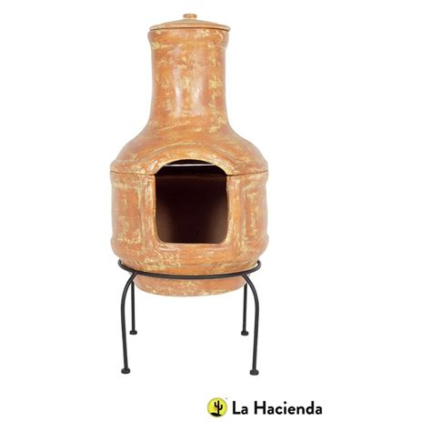 Large Clay Chiminea With Grill Buy La Hacienda Large Chiminea And Grill