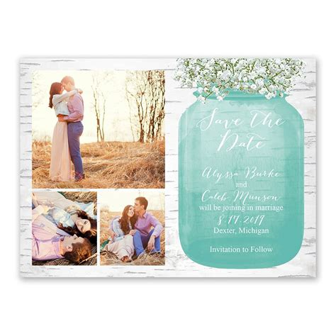 Flat White Color by Babys Breath Save The Date Card Ann S Bridal Bargains