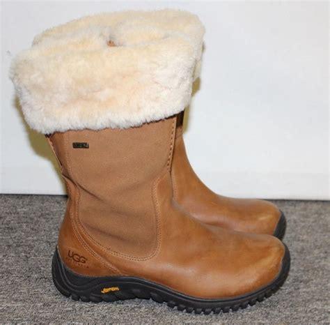ugg boots bandon zipper  gore tex rubber vibram soles leather sheepskin brown boots vibram