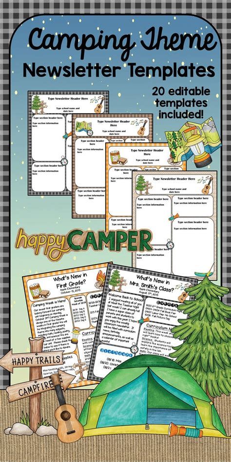 camping theme newsletter templates newsletter templates