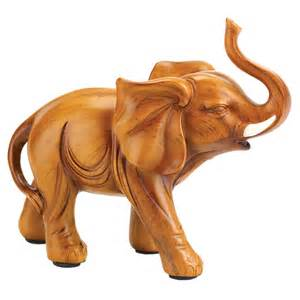 Elephant Figurines by Lucky Elephant Wood Look Figurine Statue Home Decor