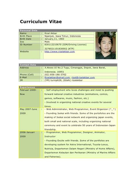 format cv bahasa indonesia curriculum vitae format bahasa indonesia free resume