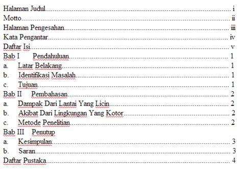 cara membuat daftar isi di karya tulis ilmiah informanisasi contoh karya tulis ilmiah kebersihan