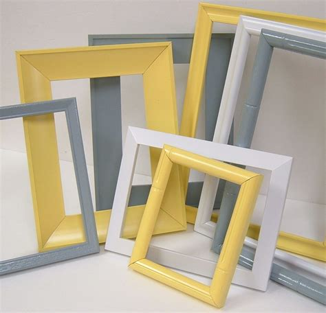 yellow and grey home decor picture frames by mountaincoveantiques
