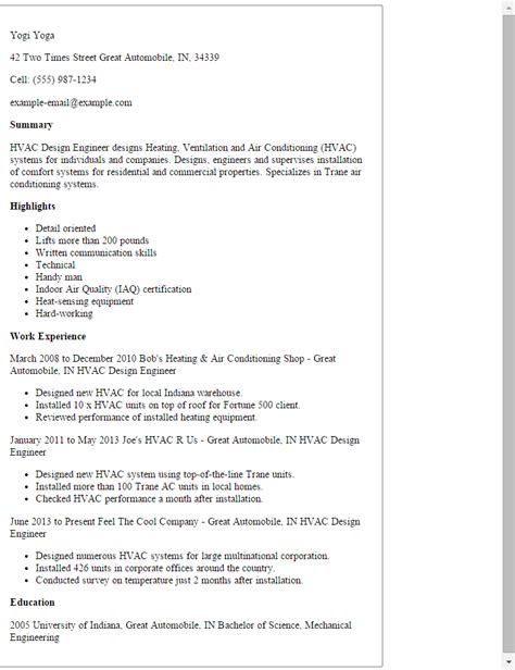 Hvac R Resume Template by Professional Hvac Design Engineer Templates To Showcase