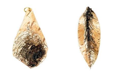 made birch bark necklace earring brooch pendants by