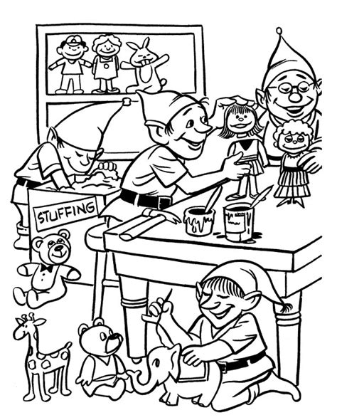 coloring pages of santa s workshop printable christmas coloring page elves in workshop